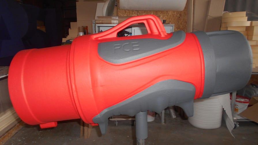 3D-Objekt aus Styropor, dreidimensionales Modell von links